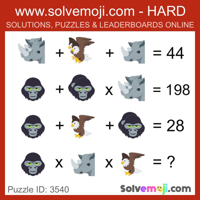 Solvemoji Emoji Math Puzzle 3540
