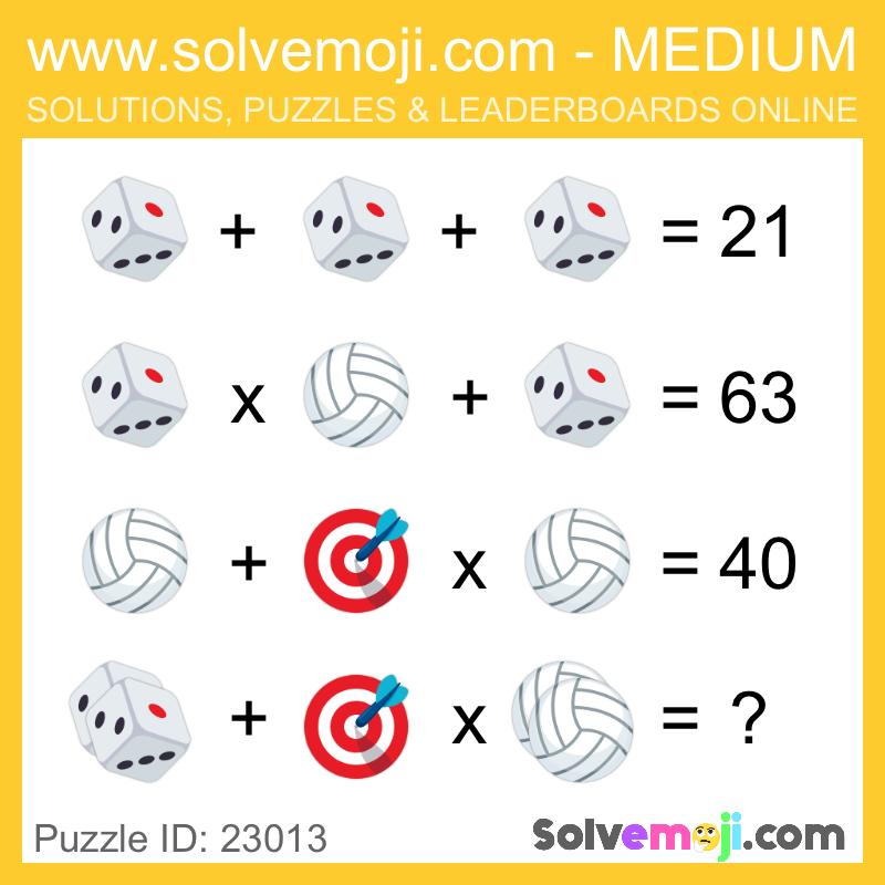 Solvemoji Emoji Math Puzzle 23013