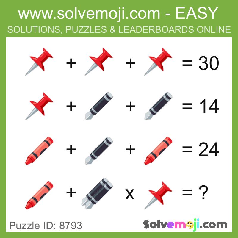 Solvemoji Emoji Math Puzzle 8793