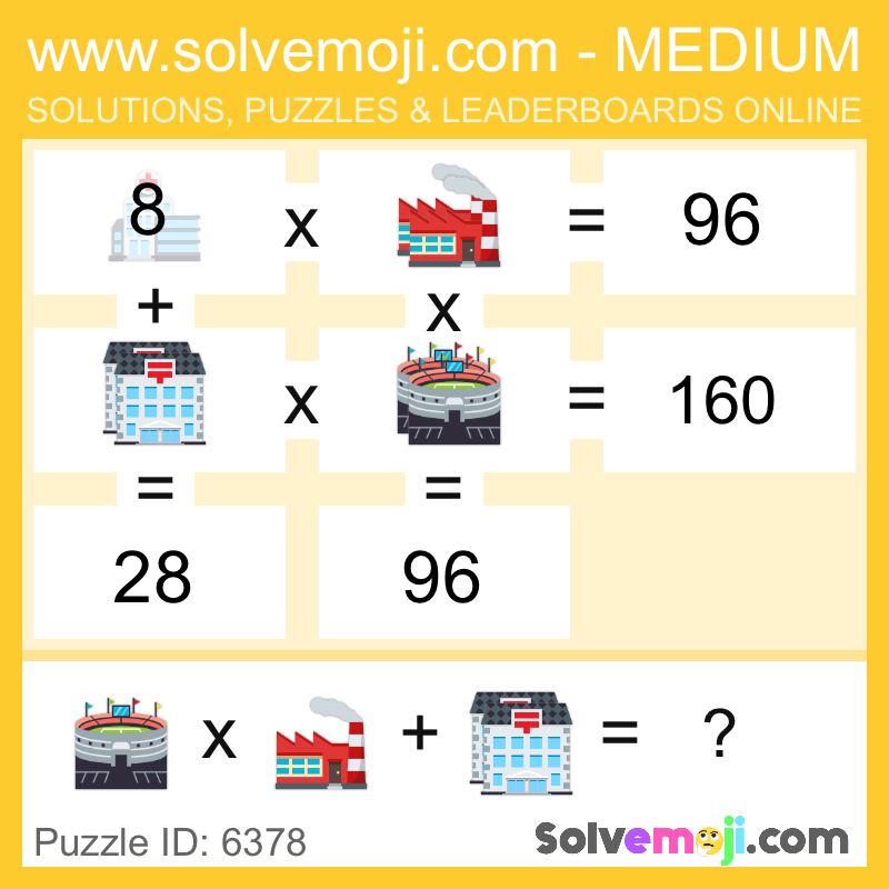 Solvemoji Emoji Math Puzzle 6378