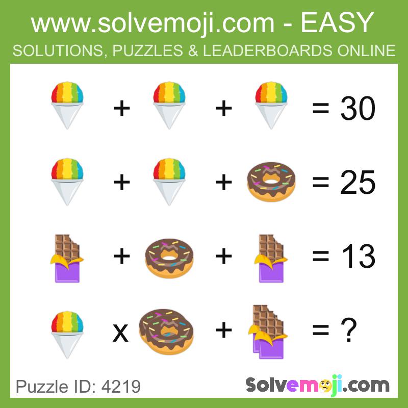 Solvemoji Emoji Math Puzzle 4219