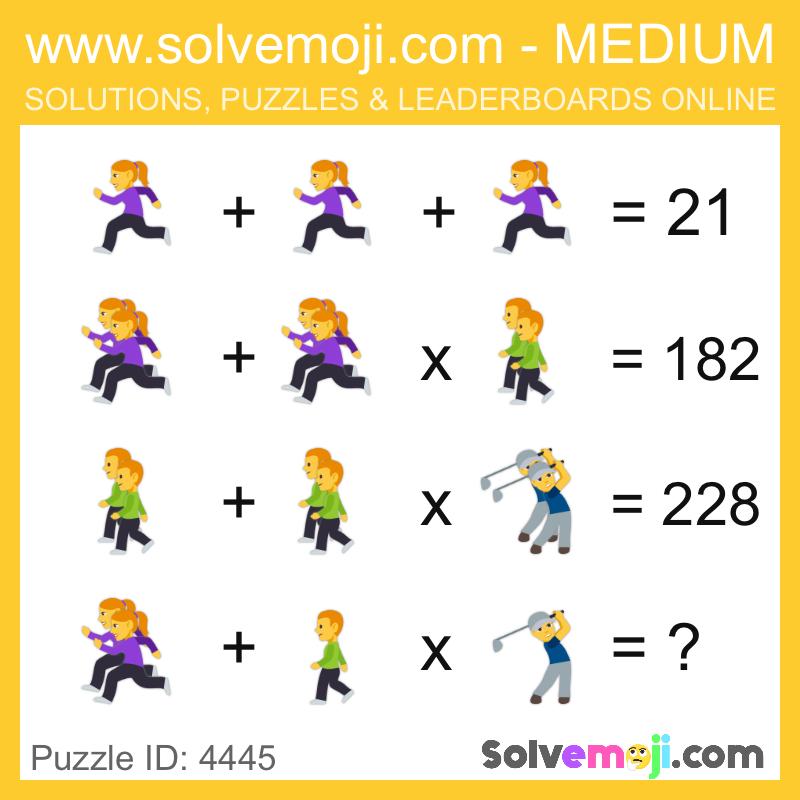 Solvemoji Emoji Math Puzzle 4445