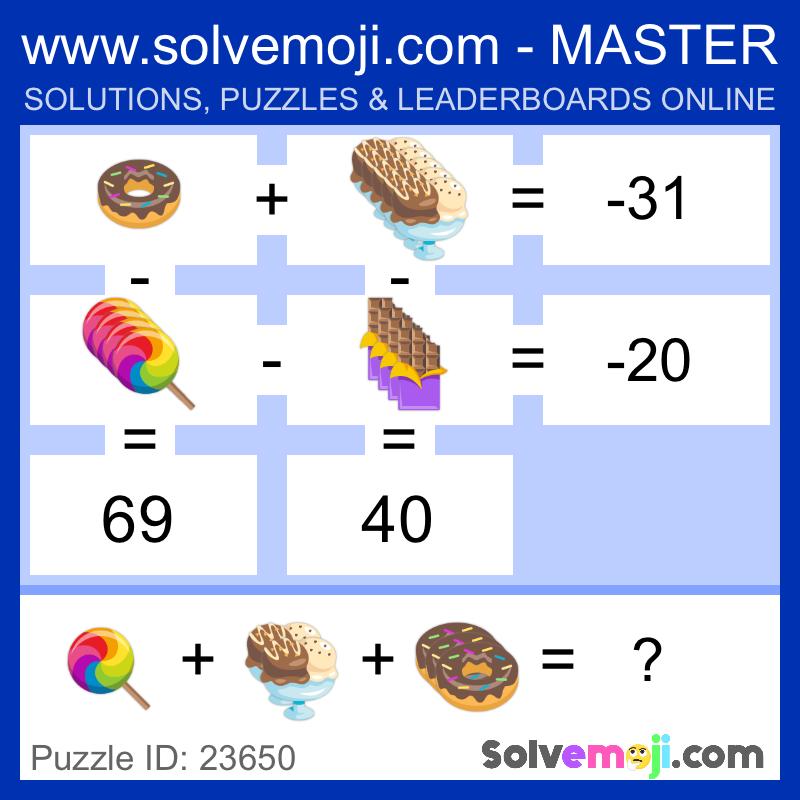 Solvemoji Emoji Math Puzzle 23650